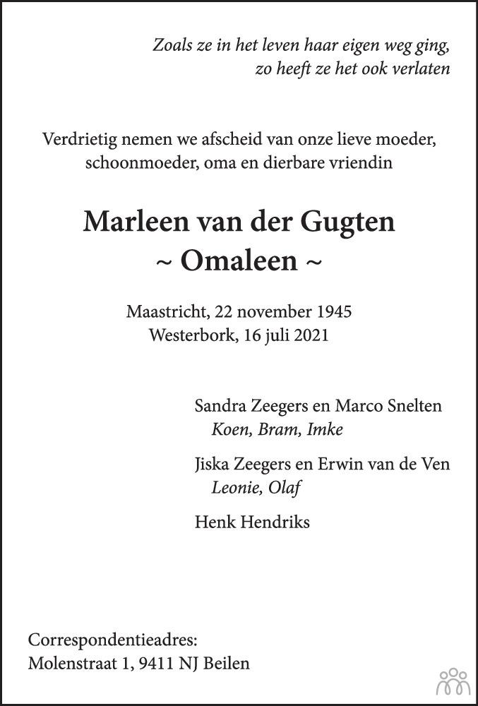 Overlijdensbericht van Marleen van der Gugten in De krant van Midden-Drenthe