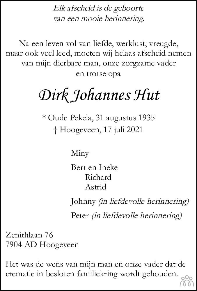 Overlijdensbericht van Dirk Johannes Hut in Hoogeveensche Courant