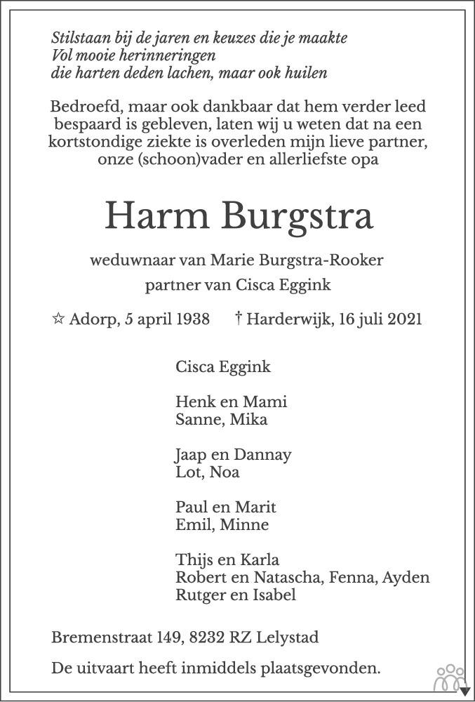 Overlijdensbericht van Harm Burgstra in Flevopost Dronten