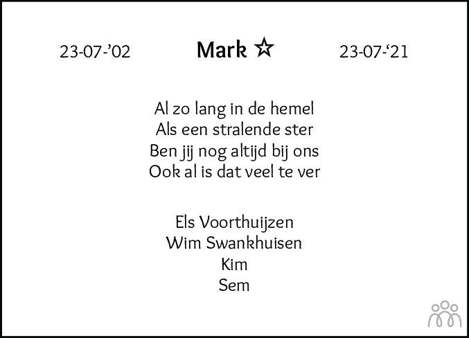 Overlijdensbericht van Mark Voorthuijzen/Swankhuisen in Flevopost Dronten