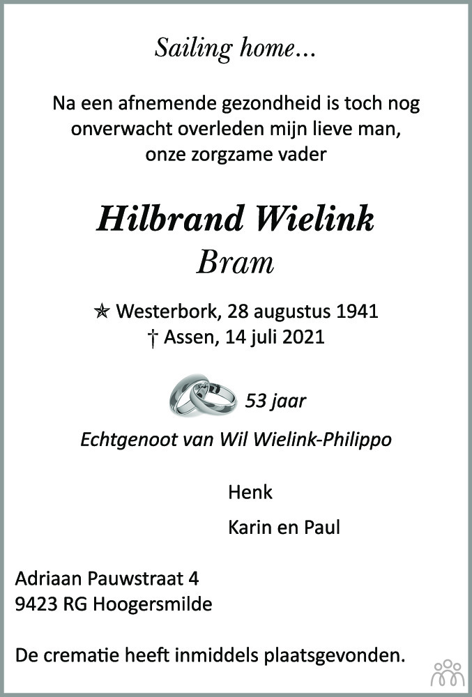 Overlijdensbericht van Hilbrand (Bram) Wielink in De krant van Midden-Drenthe