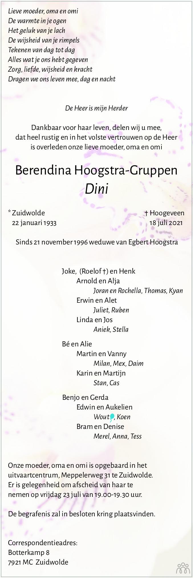 Overlijdensbericht van Berendina (Dini) Hoogstra-Gruppen in Hoogeveensche Courant