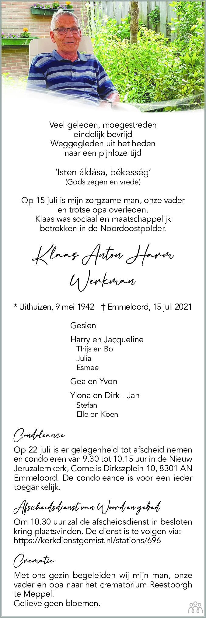 Overlijdensbericht van Klaas Anton Werkman in Noordoostpolder