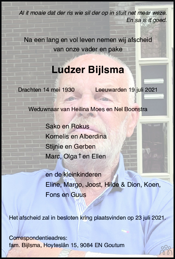 Overlijdensbericht van Ludzer Bijlsma in Leeuwarder Courant