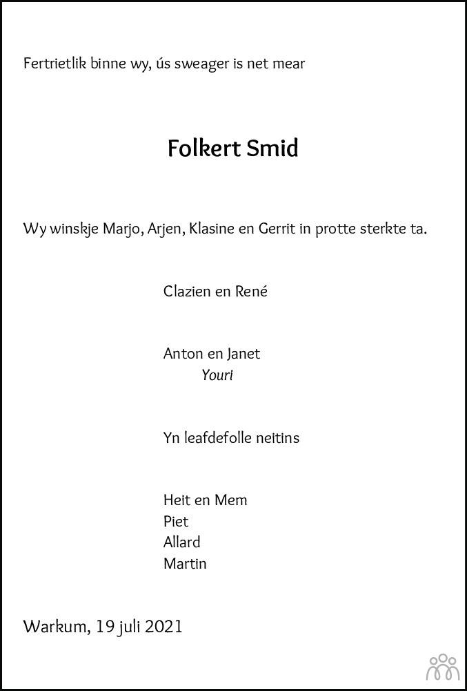Overlijdensbericht van Folkert Jan Smid in Leeuwarder Courant