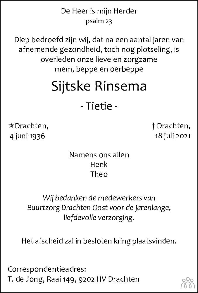 Overlijdensbericht van Sijtske (Tietie) Rinsema in Drachtster Courant