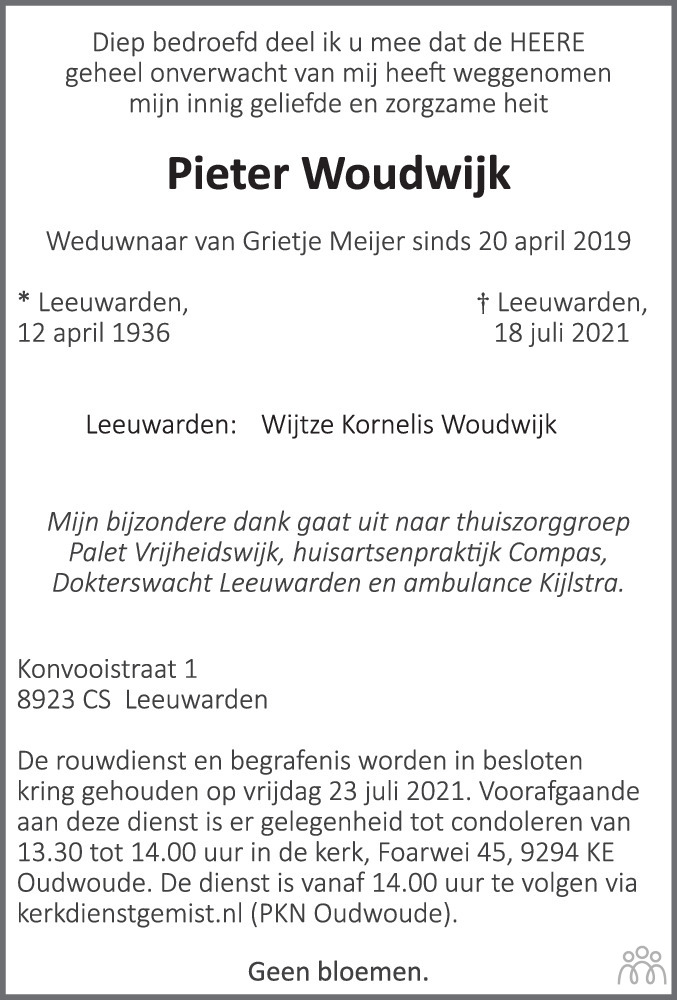 Overlijdensbericht van Pieter Woudwijk in Leeuwarder Courant