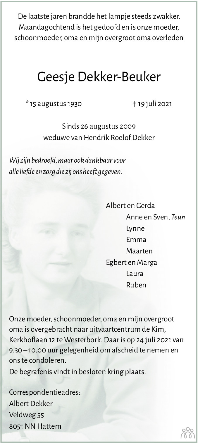 Overlijdensbericht van Geesje Dekker-Beuker in Dagblad van het Noorden