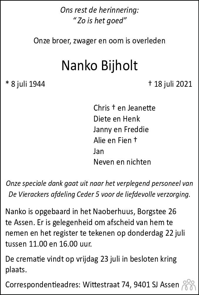 Overlijdensbericht van Nanko Bijholt in Dagblad van het Noorden