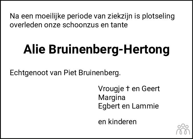 Overlijdensbericht van Alie Bruinenberg-Hertong in Meppeler Courant