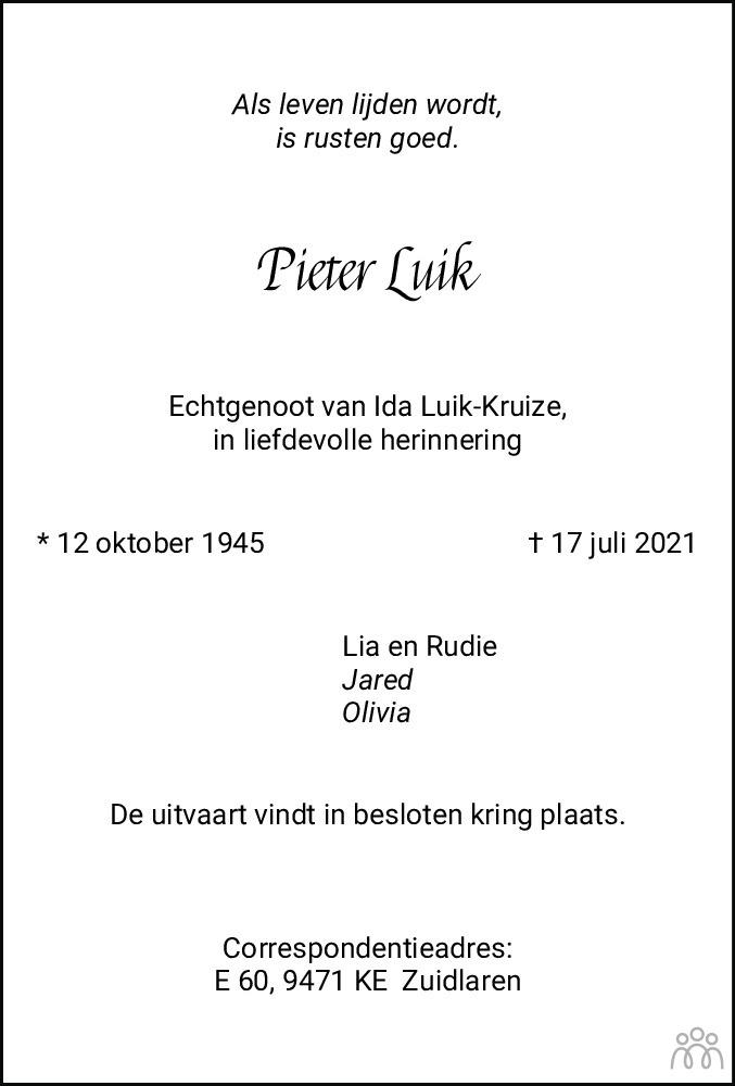 Overlijdensbericht van Pieter Luik in Dagblad van het Noorden