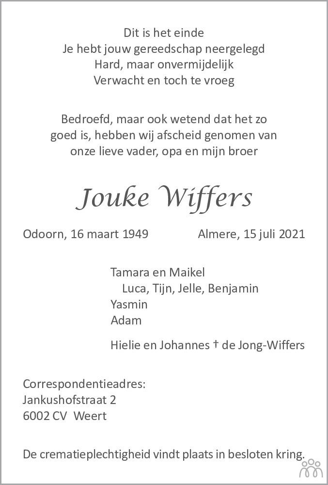 Overlijdensbericht van Jouke Wiffers in Noordoostpolder
