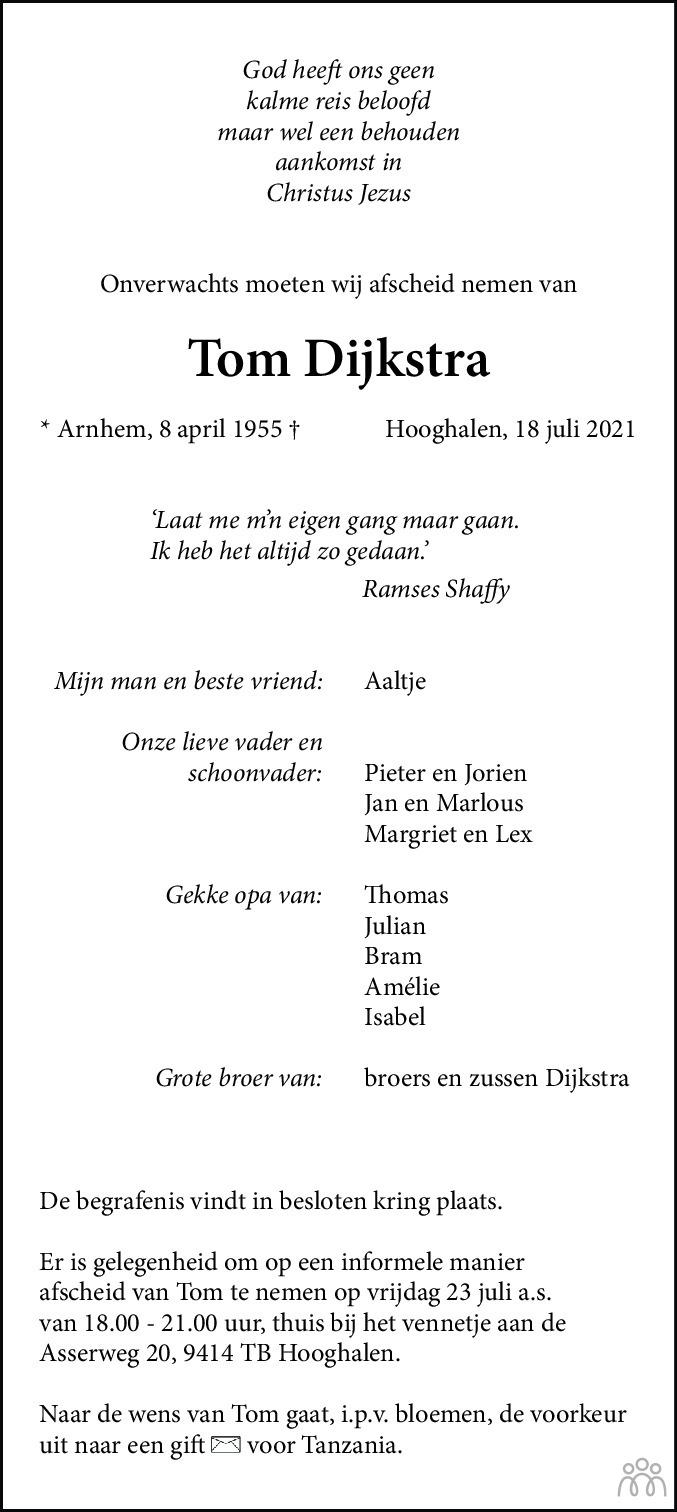 Overlijdensbericht van Tom Dijkstra in Dagblad van het Noorden