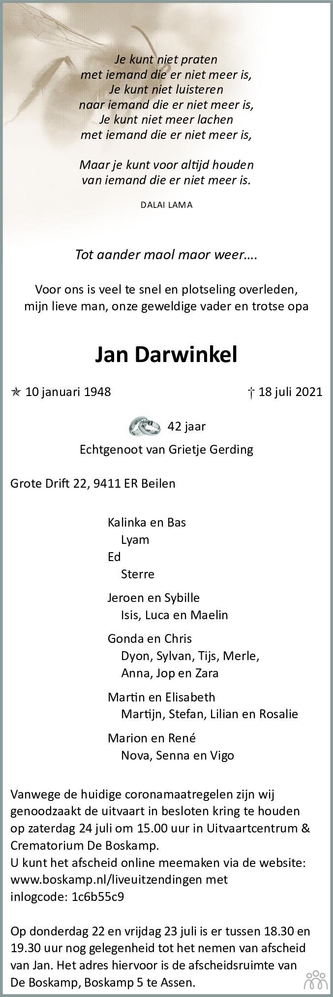 Overlijdensbericht van Jan Darwinkel in De krant van Midden-Drenthe
