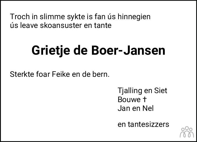 Overlijdensbericht van Grietje de Boer-Jansen in Leeuwarder Courant