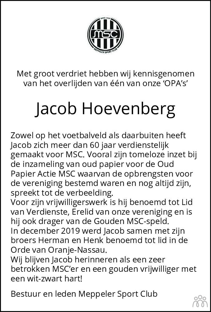 Overlijdensbericht van Jacob Hoevenberg in Meppeler Courant