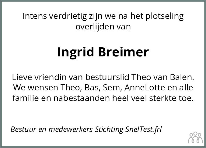Overlijdensbericht van Ingrid Breimer in Leeuwarder Courant