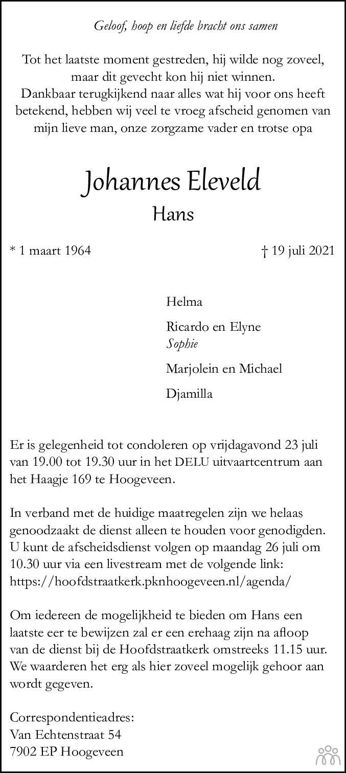 Overlijdensbericht van Johannes (Hans) Eleveld in Hoogeveensche Courant