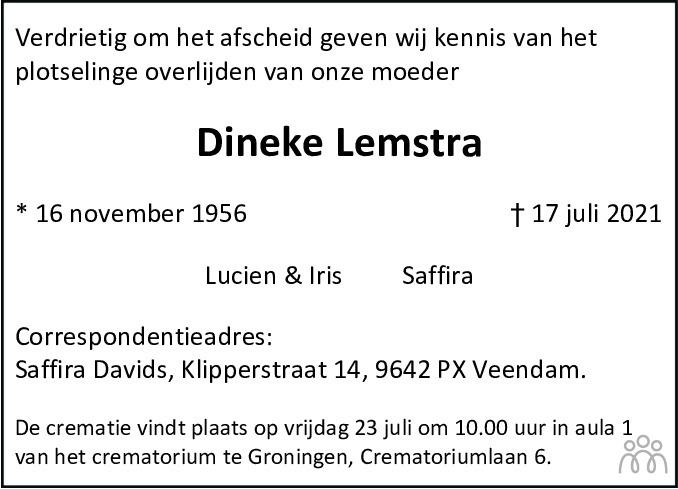 Overlijdensbericht van Dineke Lemstra in Dagblad van het Noorden