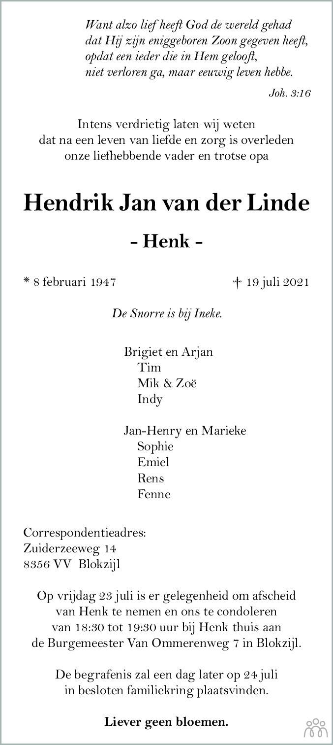 Overlijdensbericht van Hendrik Jan (Henk) van der Linde in Meppeler Courant
