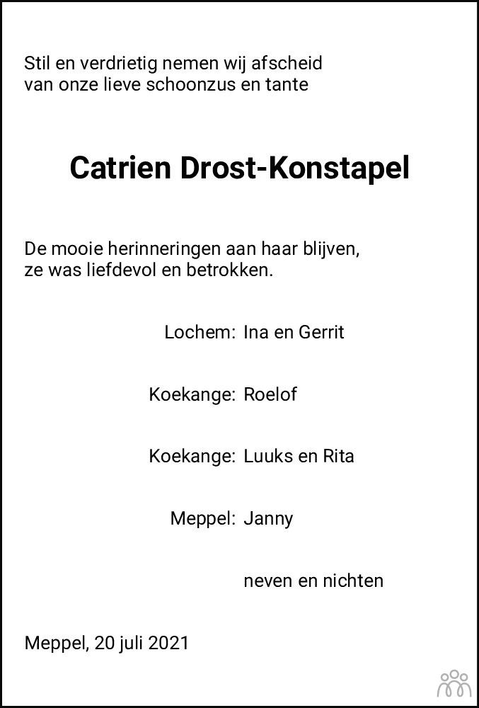 Overlijdensbericht van Catrien Drost-Konstapel in Meppeler Courant