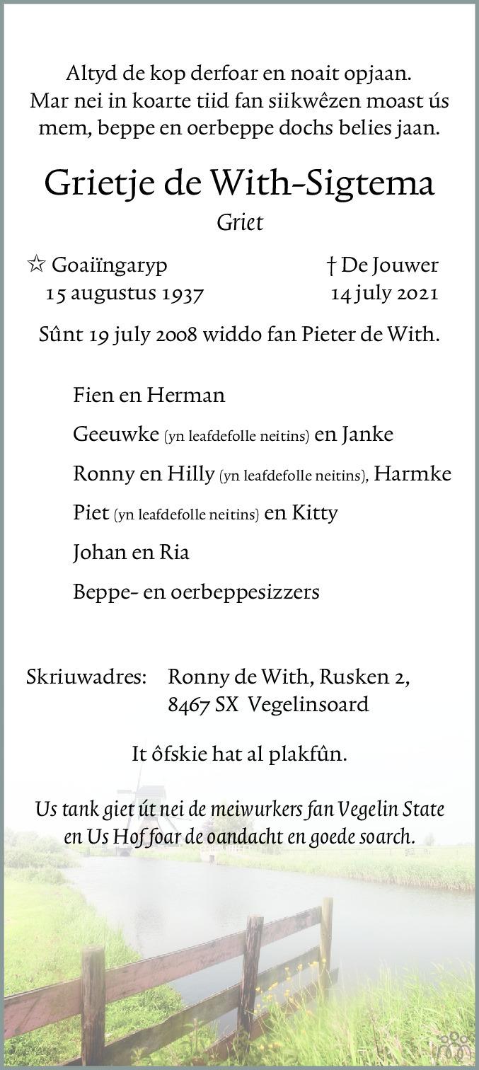 Overlijdensbericht van Grietje (Griet) de With-Sigtema in Jouster Courant Zuid Friesland