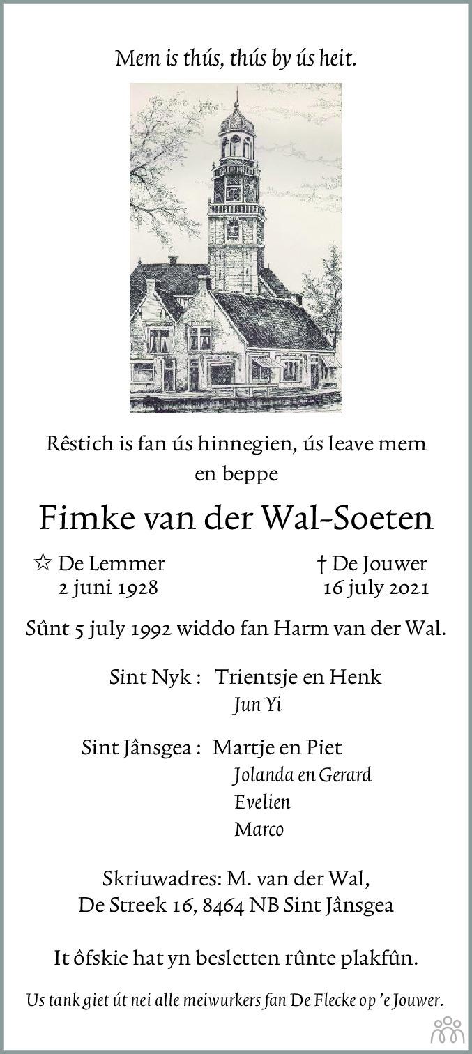 Overlijdensbericht van Fimke van der Wal-Soeten in Jouster Courant Zuid Friesland