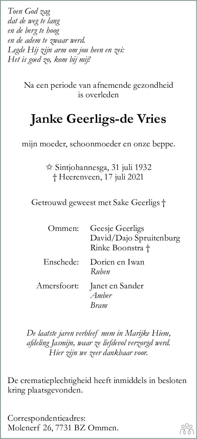 Overlijdensbericht van Janke Geerligs-de Vries in Heerenveense Courant