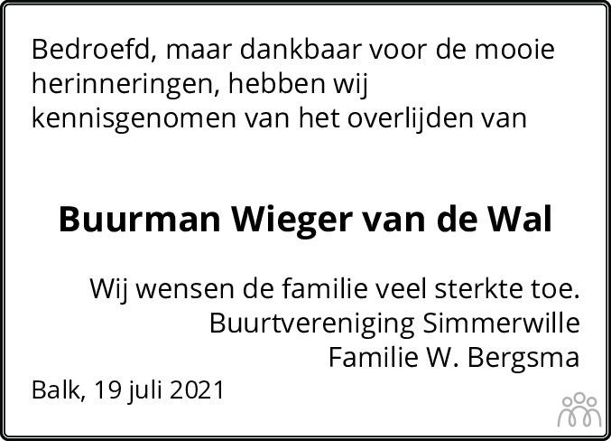 Overlijdensbericht van Wieger van der Wal in Balkster Courant