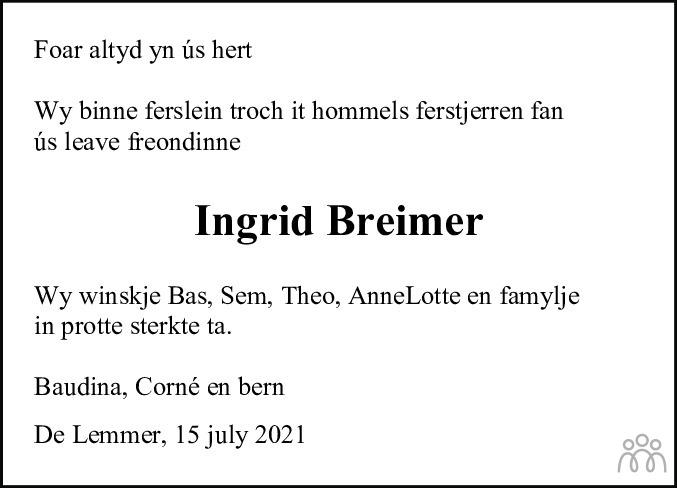 Overlijdensbericht van Ingrid Breimer in Jouster Courant Zuid Friesland