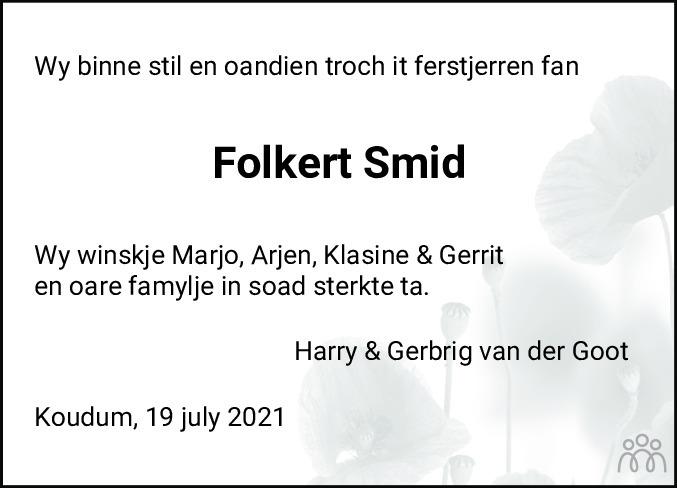 Overlijdensbericht van Folkert Jan Smid in Bolswards Nieuwsblad