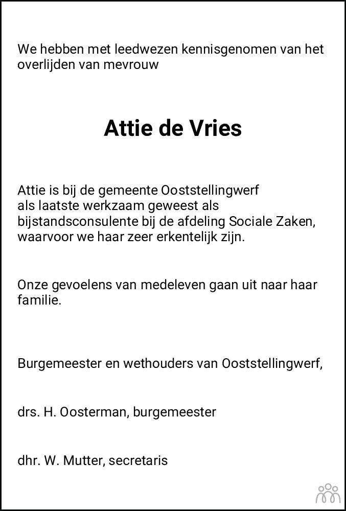 Overlijdensbericht van Arendje Sijke (Attie) de Vries in Nieuwe Ooststellingwerver
