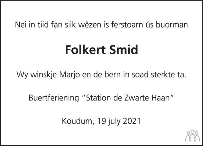 Overlijdensbericht van Folkert Jan Smid in Balkster Courant
