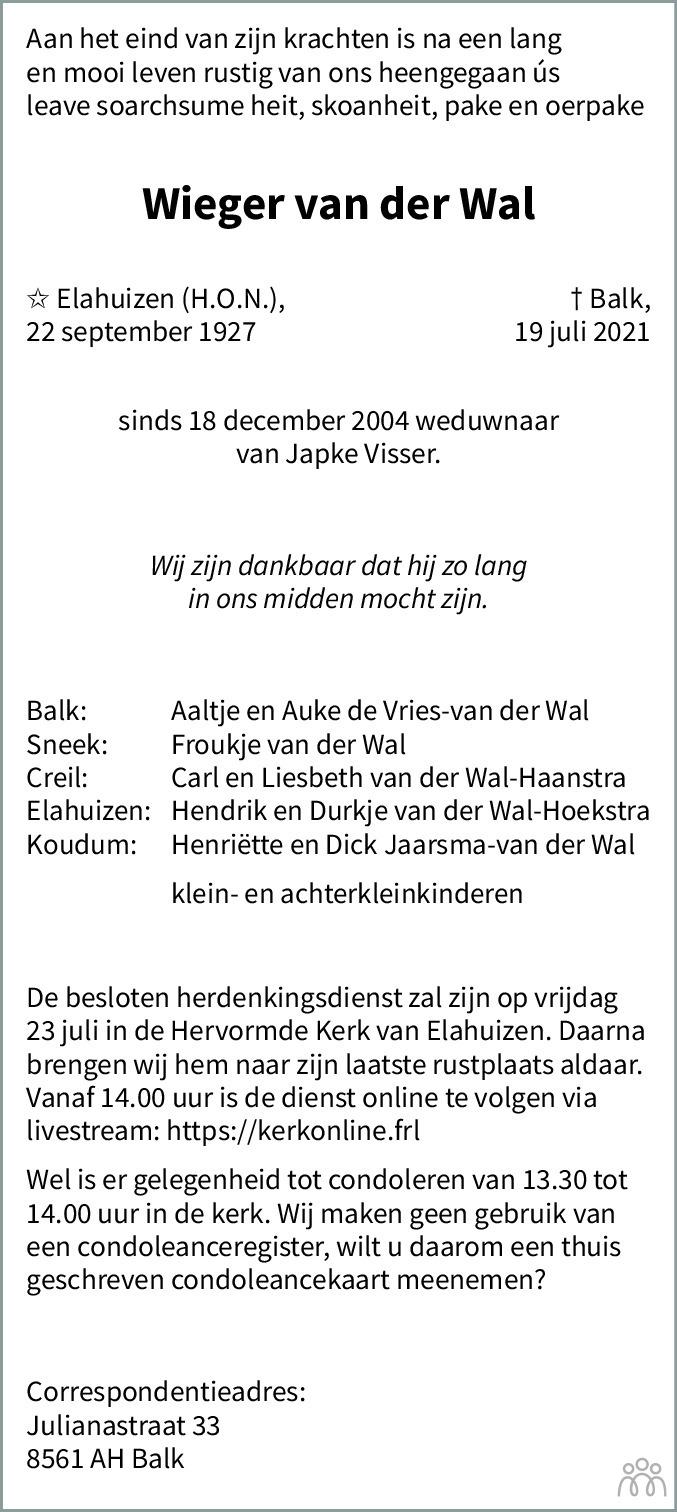 Overlijdensbericht van Wieger van der Wal in Leeuwarder Courant
