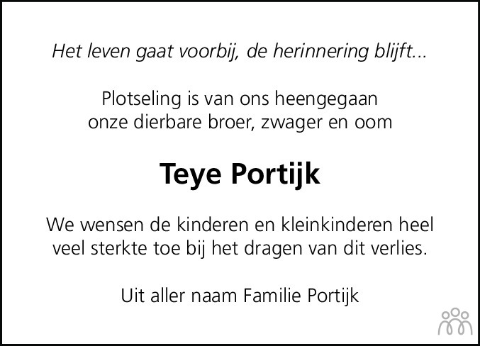 Overlijdensbericht van Teye (Teije) Portijk in Heerenveense Courant