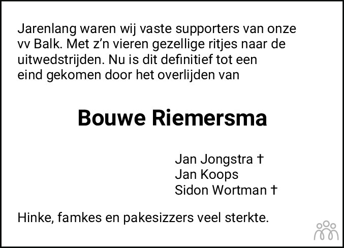 Overlijdensbericht van Bouwe Riemersma in Balkster Courant