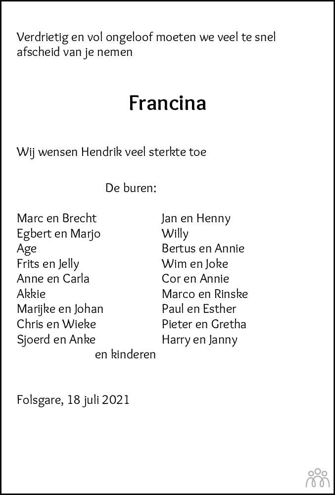 Overlijdensbericht van Francina Hendrika de Groot-van de Kooij in Sneeker Nieuwsblad