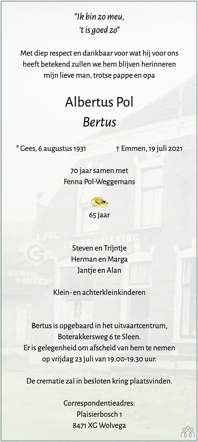 Overlijdensbericht van Albertus (Bertus) Pol in Dagblad van het Noorden