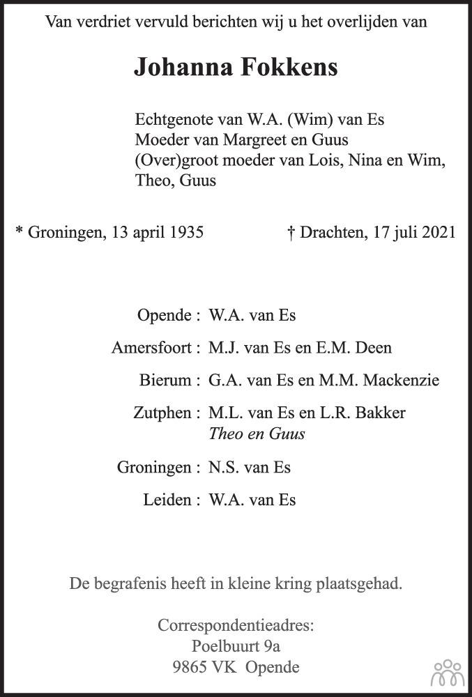 Overlijdensbericht van Johanna (Jopie) van Es-Fokkens in Dagblad van het Noorden
