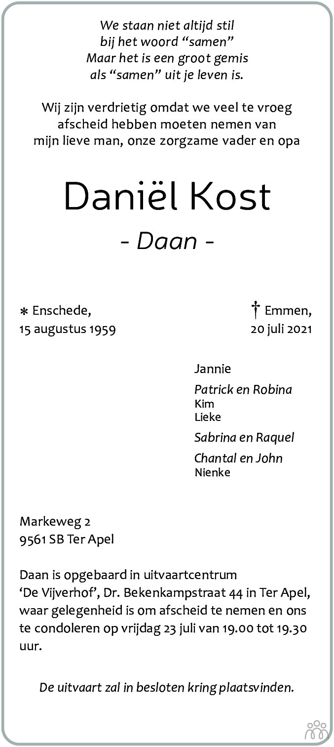 Overlijdensbericht van Daniël (Daan) Kost in Dagblad van het Noorden
