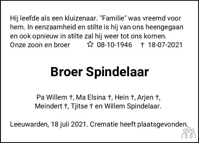 Overlijdensbericht van Broer Spindelaar in Leeuwarder Courant