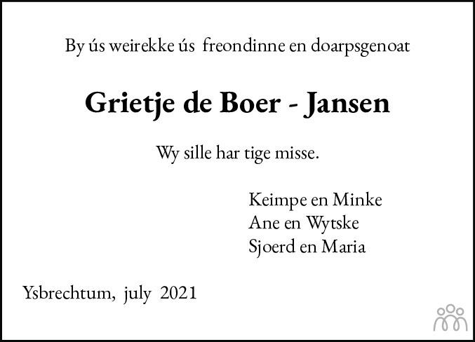 Overlijdensbericht van Grietje de Boer-Jansen in Sneeker Nieuwsblad