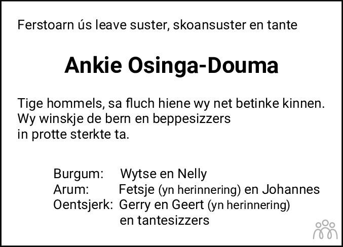 Overlijdensbericht van Antje Sytske (Ankie) Osinga-Douma in Leeuwarder Courant
