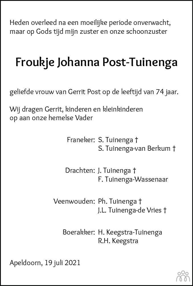 Overlijdensbericht van Froukje Johanna Post-Tuinenga in Leeuwarder Courant