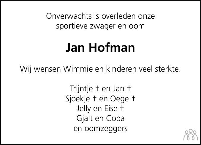 Overlijdensbericht van Jan Klaas Hofman in Nieuwe Ooststellingwerver