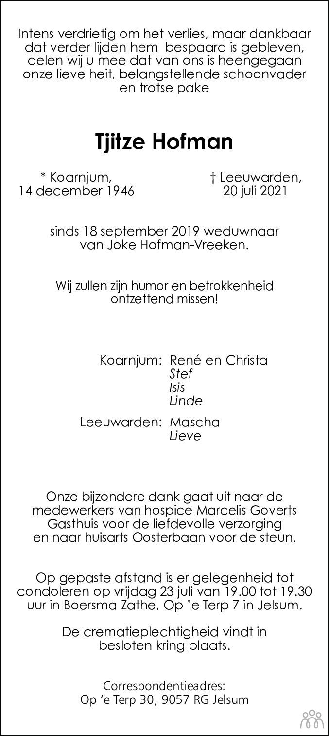 Overlijdensbericht van Tjitze Hofman in Leeuwarder Courant