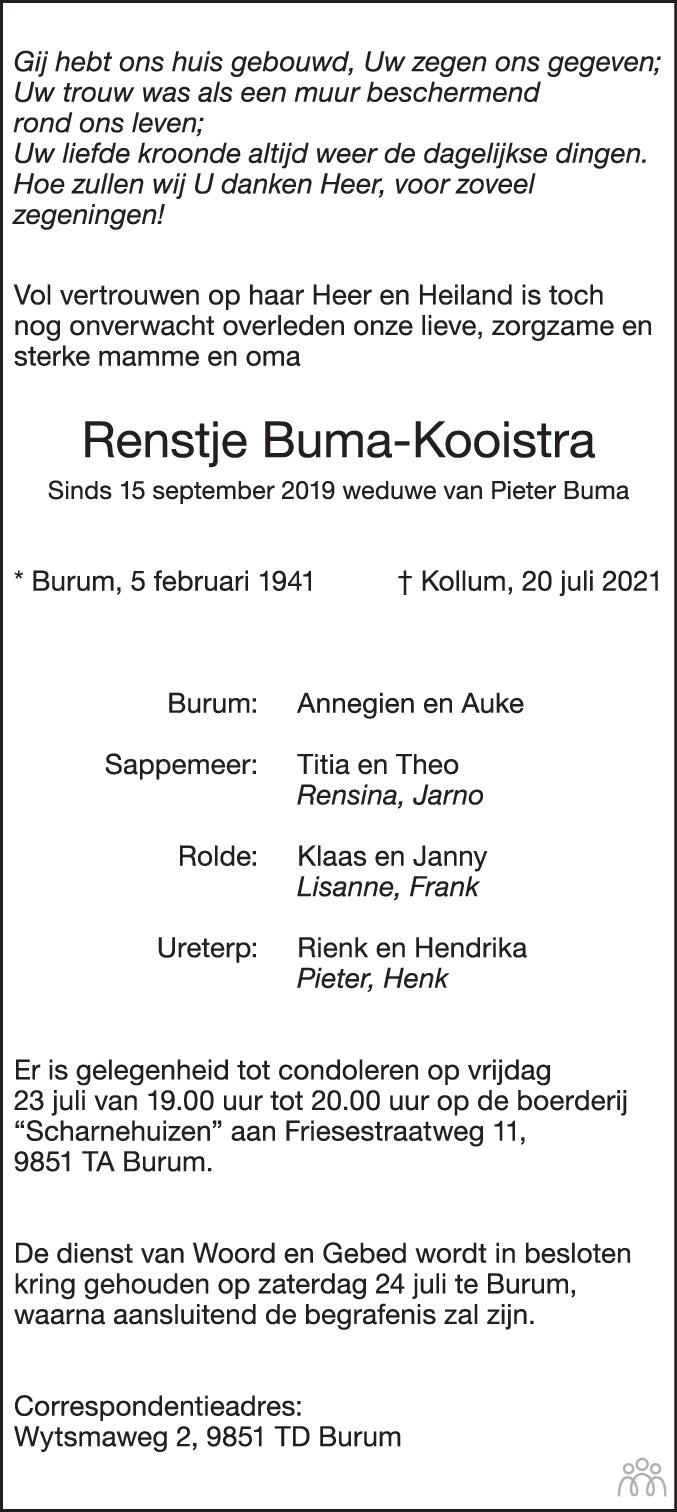 Overlijdensbericht van Renstje (Rens) Buma-Kooistra in Friesch Dagblad