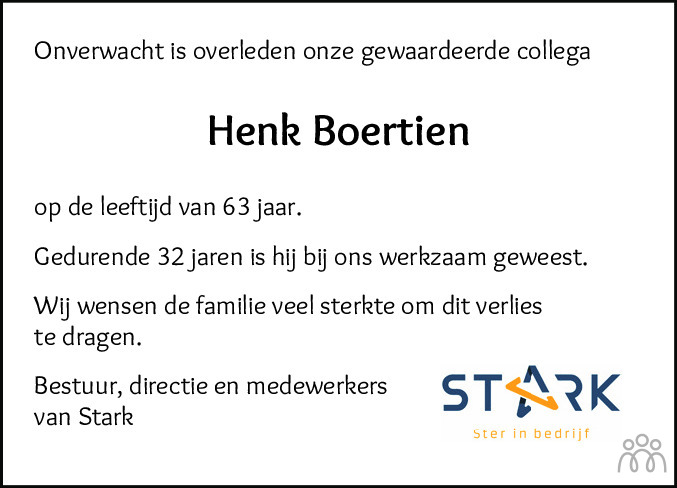 Overlijdensbericht van Hendrik (Henk) Boertien in Hoogeveensche Courant