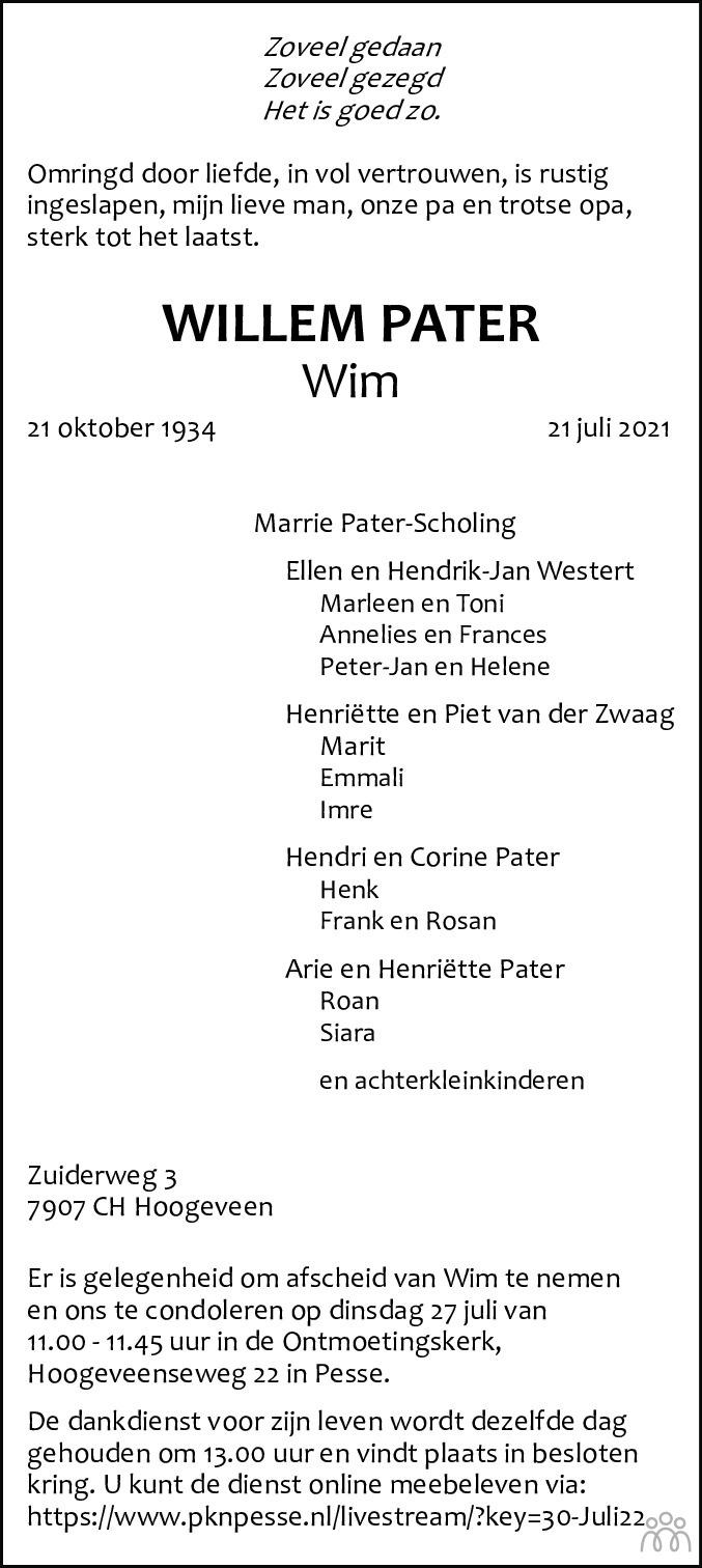 Overlijdensbericht van Willem (Wim) Pater in Hoogeveensche Courant