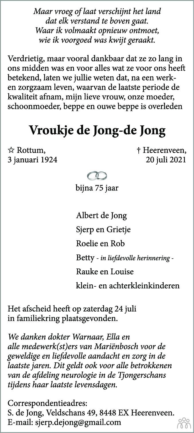 Overlijdensbericht van Vroukje de Jong-de Jong in Leeuwarder Courant
